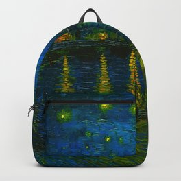 Starry Night Over the Rhône 1888 oil on canvas by Vincent van Gogh Backpack