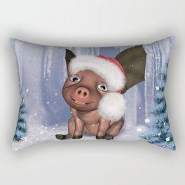Christmas, cute little piglet Rectangular Pillow