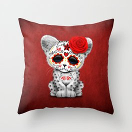Red Day of the Dead Sugar Skull Snow Leopard Cub Throw Pillow
