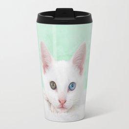 Portrait of a white kitten with heterochromia Travel Mug