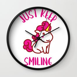 UNICORN JUST KEEP SMILING Wall Clock