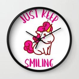 UNICORN JUST KEEP SMILING Wall Clock