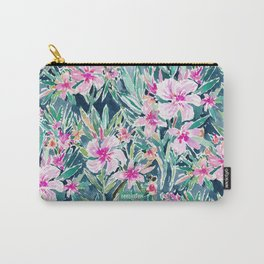 LUSH OLEANDER Tropical Watercolor Floral Carry-All Pouch