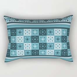 Bohemian Blue Tiles Pachwork Rectangular Pillow