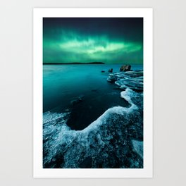 Ice on the lake shore and northern lights landscape Art Print