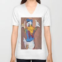 donald duck V-neck T-shirts featuring Donald Duck diddy by Larry Caveney