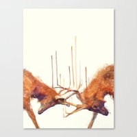 strong Canvas Prints featuring Stags // Strong by Amy Hamilton