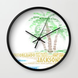 Tropical Island with Palm Trees illustrated with cities of Florida State Wall Clock