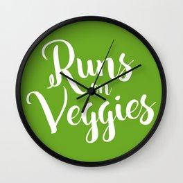 Runs on Veggies Text Wall Clock