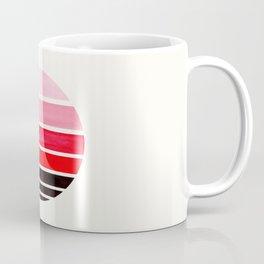 Red Mid Century Modern Minimalist Circle Round Photo Staggered Sunset Geometric Stripe Design Coffee Mug