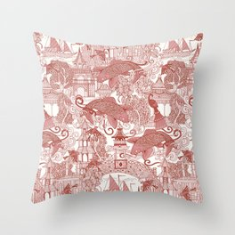 chinoiserie toile red Throw Pillow