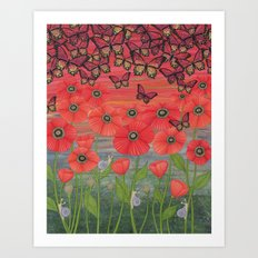 red sky, butterflies, poppies, & snails Art Print
