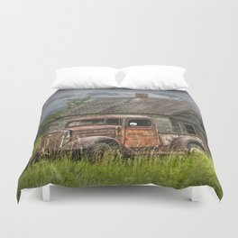 Old Vintage Pickup in front of an Abandoned Farm House Duvet Cover
