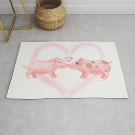 Cute and Sweet Little Piglets in Love, Watercolor Hand-painted Print, I Love You Gift With Animals Rug