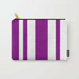Mixed Vertical Stripes - White and Purple Violet Carry-All Pouch