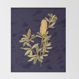 Banksia on Indigo Blue Botanical Illustration Throw Blanket