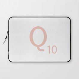 Pink Scrabble Letter Q - Scrabble Tile Art and Accessories Laptop Sleeve