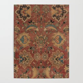 Flowery Boho Rug IV // 17th Century Distressed Colorful Red Navy Blue Burlap Tan Ornate Accent Patte Poster