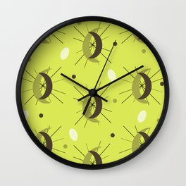 Midcentury Modern Crescents Chartreuse Wall Clock