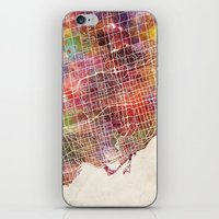 toronto iPhone & iPod Skins featuring Toronto by MapMapMaps.Watercolors