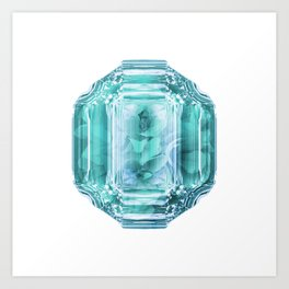 Aquamarine Rose Crystal Art Print