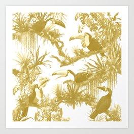 Toucans and Bromeliads - Spicy Mustard Art Print