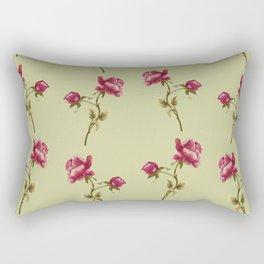 Embroidered Rose Rectangular Pillow