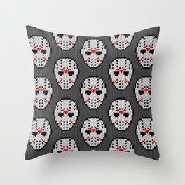 Knitted Jason hockey mask pattern Throw Pillow