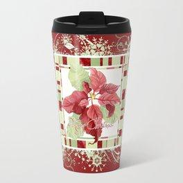 Modern Striped Poinsettia Christmas Floral Holiday Winter Travel Mug