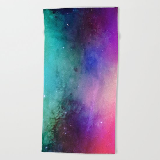 Mystical azure galaxy Beach Towel