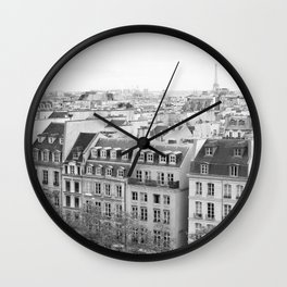 Paris in Black and White, Rooftops Wall Clock
