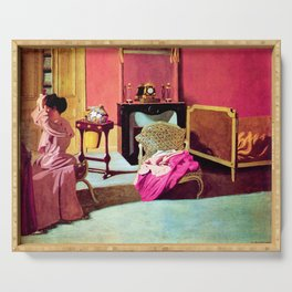 Felix Vallotton -  Woman being capped (new color editing) Serving Tray