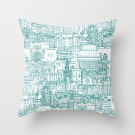 Edinburgh toile teal white Throw Pillow