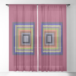 TARGET multi-colour squares wine red, royal blue, lime green, tan Sheer Curtain