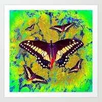 butterflies Art Prints featuring butterflies  by  Agostino Lo Coco
