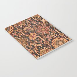 Floral Medallion I // 18th Century Colorful Blue Lime Green Pink Sapphire Plum Burlap Brown Pattern Notebook