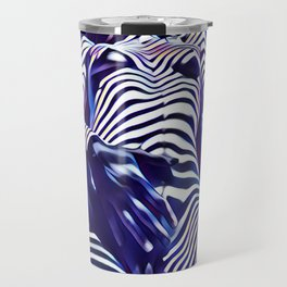 1813s-AK Sensual Blue Nude in Window Blind Stripes Travel Mug