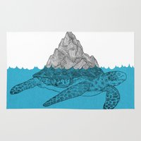 turtle Area & Throw Rugs featuring Turtle by David Penela