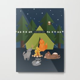 Camping Woodland Animals Kids Decor Metal Print