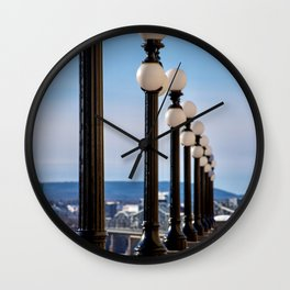 Winter Lightposts Wall Clock