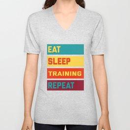 Eat Sleep Training Repeat Distressed Edi Unisex V-Neck