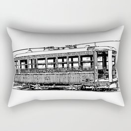 Old City Tram Detailed Illustration Rectangular Pillow