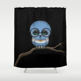 Baby Owl with Glasses and Argentine Flag Shower Curtain
