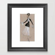 Fashion Illustration - Black & white dress Framed Art Print