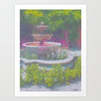 Fountain with Flowers Art Print