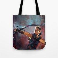 clint barton Tote Bags featuring Clint Barton by Wisesnail