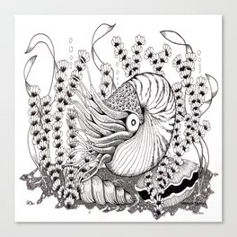 Zentangle Nautilus in the Ocean Illustration Canvas Print