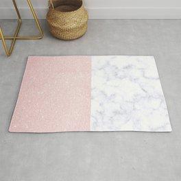 Elegant rose gold glitter pink & marble combination Rug