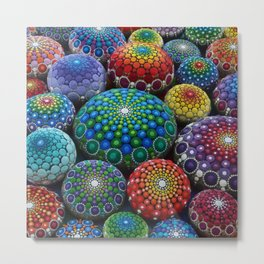 Jewel Drop Mandala Stone Collection #1 Metal Print