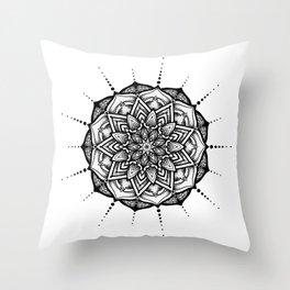 Organic Black Mandala Throw Pillow